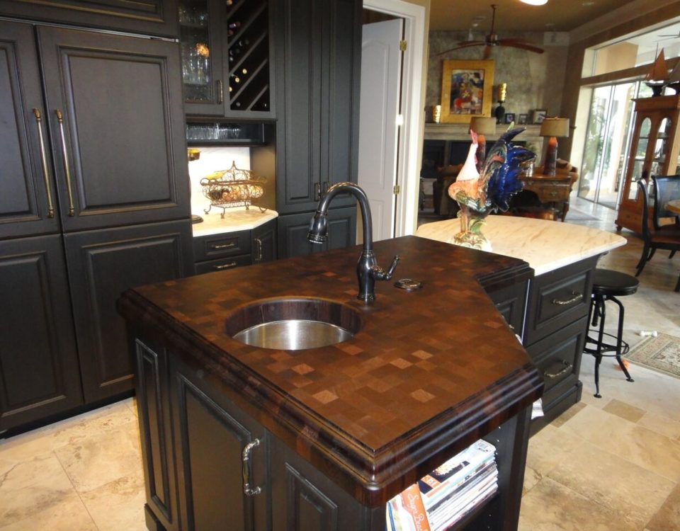 Wenge end-grain wood countertop with sink by CafeCountertops 74807