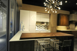 Black Walnut wood countertop with miter waterfall end panel by CafeCountertops