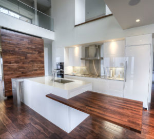 European kitchen Black Walnut wood countertop on white cabinets cantilevered modern CafeCountertops